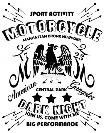 Illustration for Motorcycle Eagle American Logo Emblem Graphic Design - Royalty Free Image
