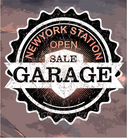 Vintage garage retro signs and labels