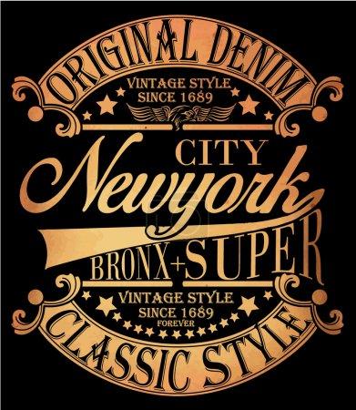 Illustration pour New York Vintage Slogan Homme T-shirt Graphic Vector Design - image libre de droit