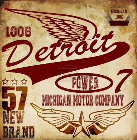 Vintage man t shirt graphic design about detroit