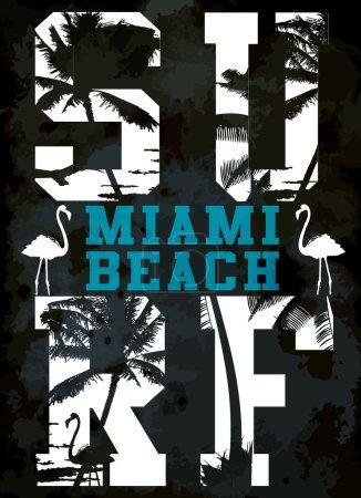 Surf typography, t-shirt graphics , vectors