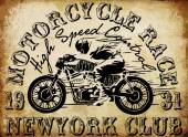Motorcycle Racing Typography Graphics and Poster Skull and Old school bike T-shirt Design vector illustration