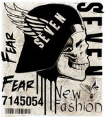 skull illustration / a mark of the danger warning / T-shirt grap