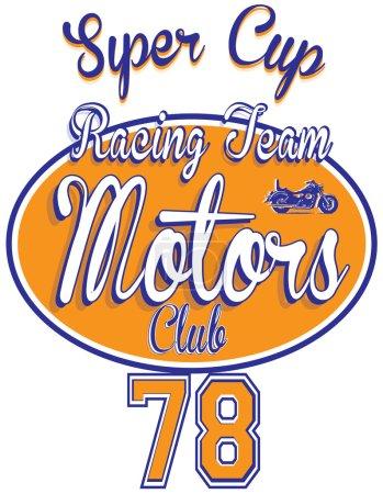 Motorcycle racing typography, t-shirt graphics, vectors