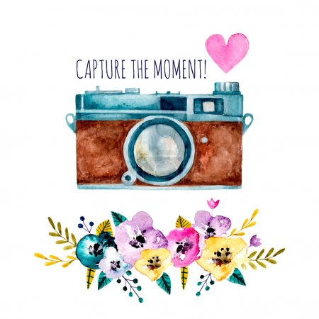Capture the moment! Vintage watercolor camera