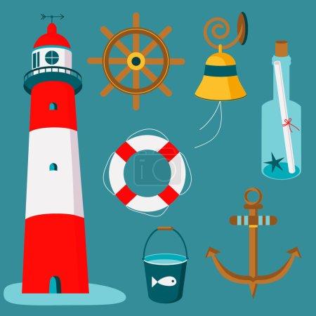 seamless pattern of nautical maritime symbols