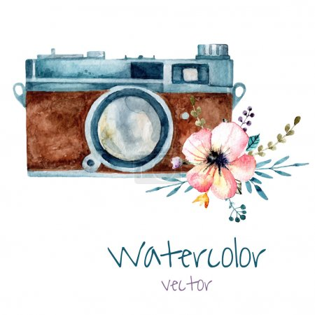 Illustration for Vintage watercolor camera with tender pink flower. Hand drawn vector illustration. - Royalty Free Image