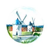 Watercolor illustration of a landscape
