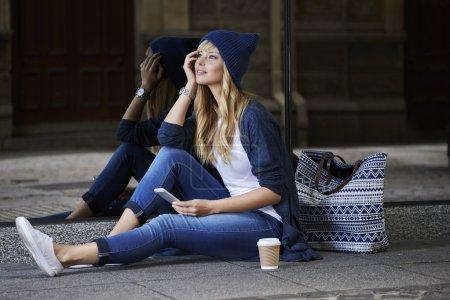 Beautiful woman taking a break