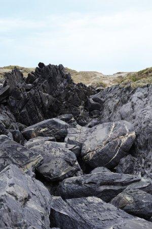 Gray boulders and rocks