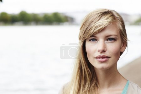 Blue eyed blond woman