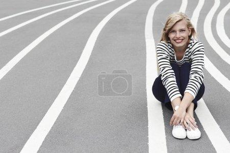 gorgeous woman on striped path
