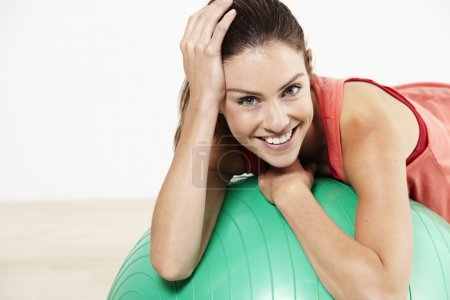 Relaxing on a pilates ball