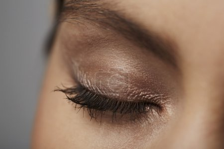 Photo for Make-up on closed female eye, close up - Royalty Free Image