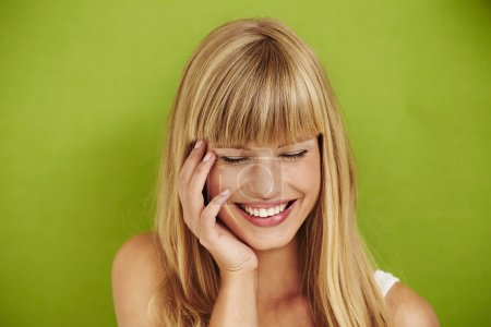 Joyful woman laughing