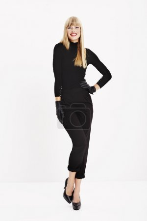 woman posing in black clothes