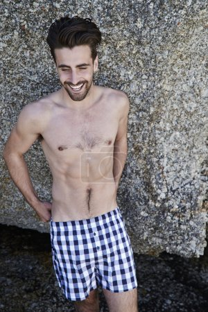 Young man in boxer shorts