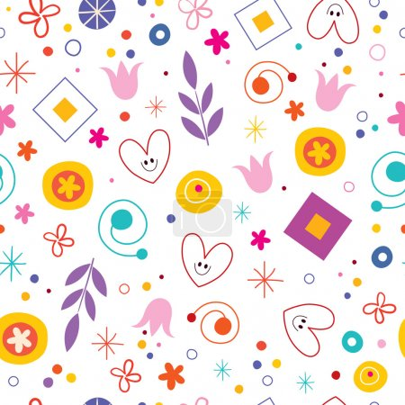Illustration for Nature love happiness fun cartoon seamless pattern - Royalty Free Image