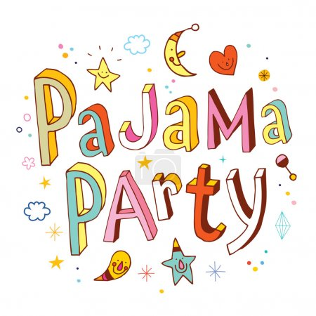 pajama party hand drawn lettering design