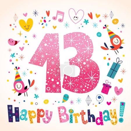Happy Birthday 13 years kids greeting card