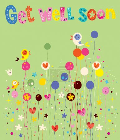 Get well soon card with birds, flowers and hearts