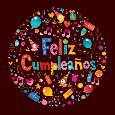 Illustration for Feliz Cumpleanos - Happy Birthday in Spanish greeting card with circle composition - Royalty Free Image