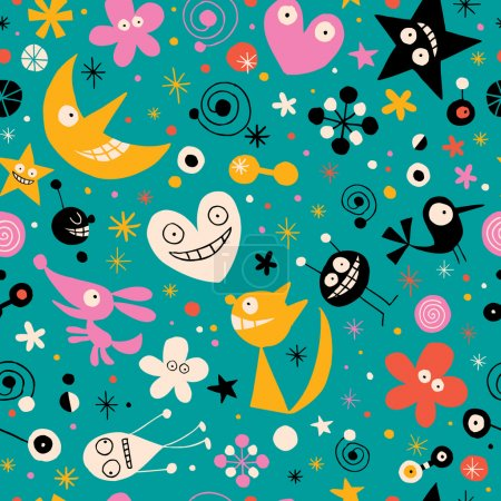 Illustration for Fun cartoon characters seamless pattern - Royalty Free Image