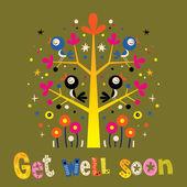 Get well soon card with cute birds