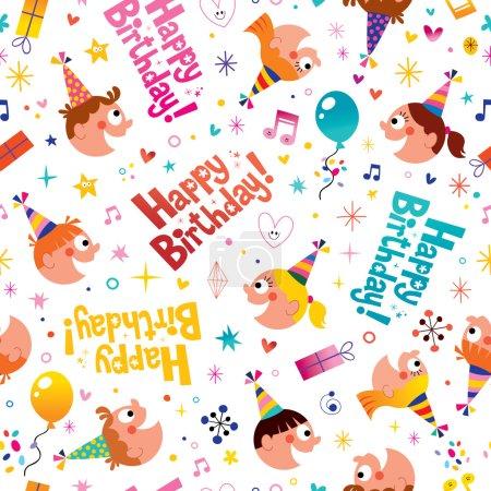 Happy birthday party kids seamless pattern