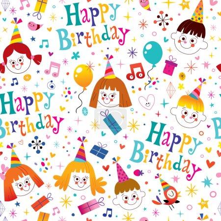 Happy birthday kids party seamless pattern