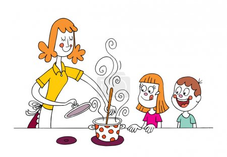 mom cooking for kids