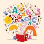 Cute kids reading book, education concept illustra...