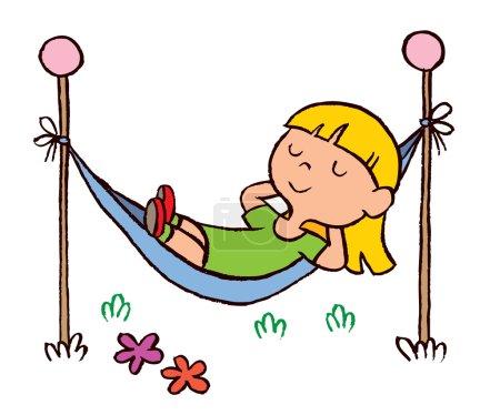 kleines Mädchen entspannt sich in Hängematte
