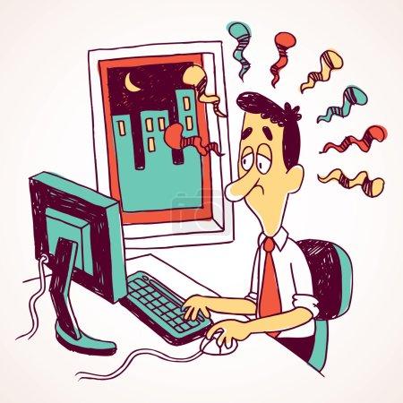 Office employee working overtime