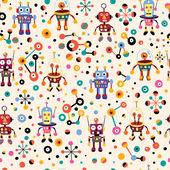 Cute robots pattern Vector illustration
