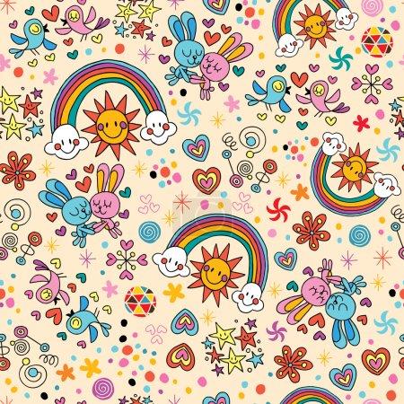 Bunnies, birds, rainbows seamless pattern