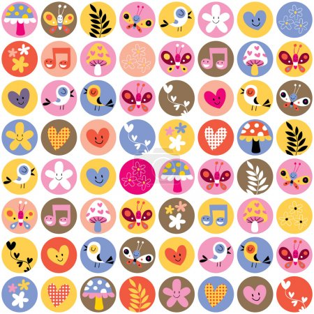 Illustration for Cute flowers, birds, hearts pattern. Vector illustration - Royalty Free Image