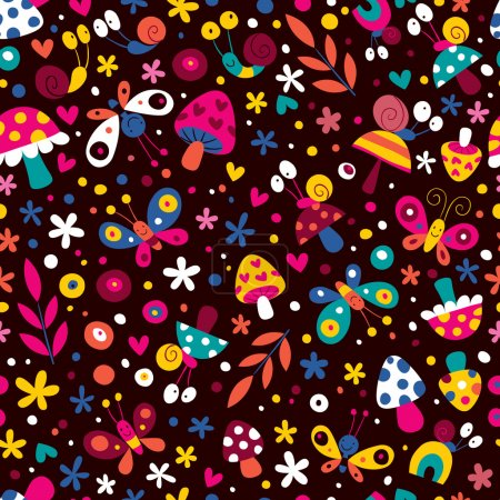 Illustration for Flowers, butterflies, mushrooms & snails pattern. Vector illustration - Royalty Free Image