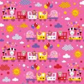 Animal train kids pattern