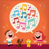 Kids singing Vector illustration