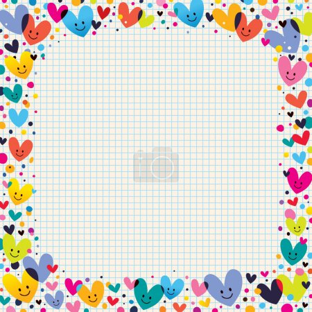 Illustration for Cute hearts border. Vector illustration - Royalty Free Image