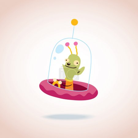 Illustration for Cute alien character. Vector illustration - Royalty Free Image