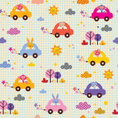 Cute animals driving cars pattern