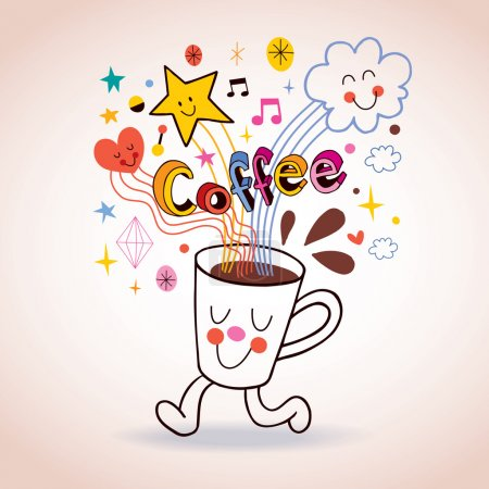 Illustration for Cartoon coffee cup illustration. Vector illustration - Royalty Free Image