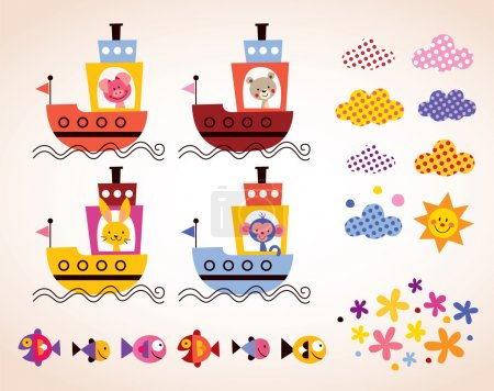 Cute animals in boats set