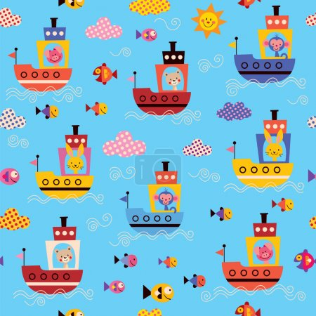 Cute animals in boats pattern