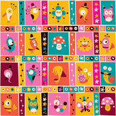 Flowers birds mushrooms & snails pattern