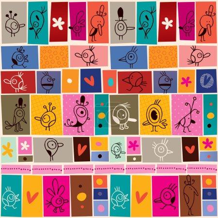 Illustration for Collage cartoon birds doodle pattern. Vector illustration - Royalty Free Image