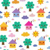 Cute houses and trees kids pattern