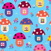 Cute animals in mushroom houses
